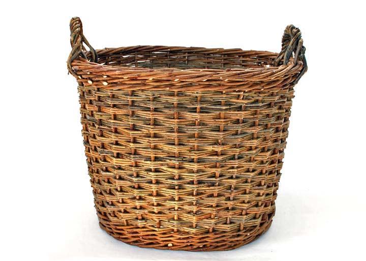 willow log basket with slewing